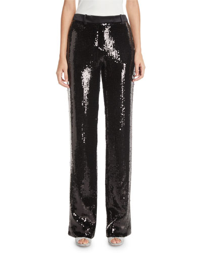 Straight-Leg Sequined Trousers