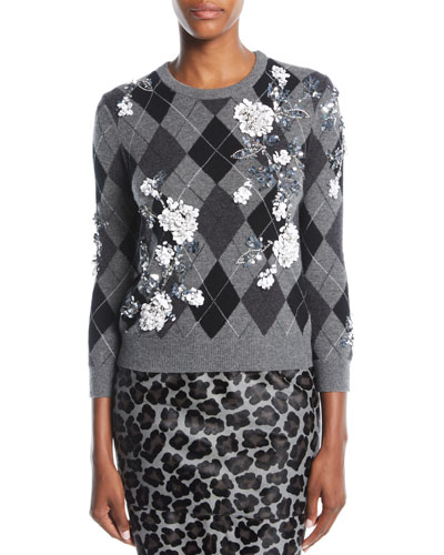Paillette Embroidered Cashmere Argyle Sweater