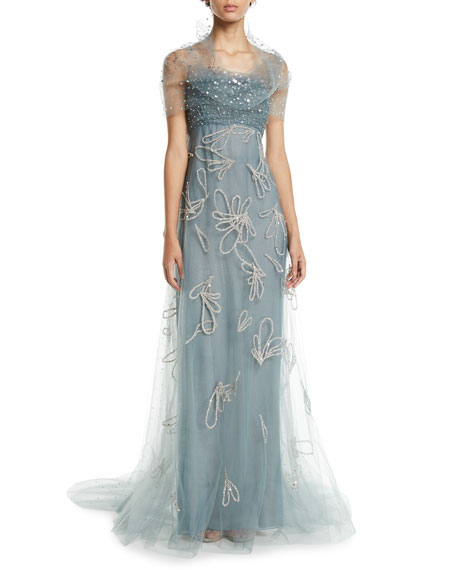 Strapless Sequin-Embroidered Tulle Evening Gown w/ Donut