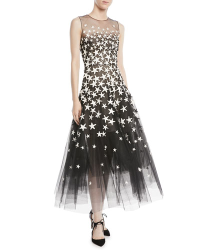 Sleeveless Illusion-Top Starfish-Embroidered Tulle Cocktail Dress