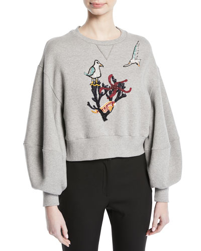 Cropped Cotton Sweatshirt with Bird-Coral Embroidery