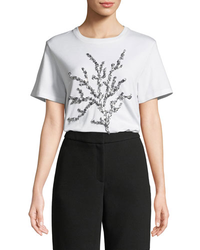 Crewneck Short-Sleeve Sequin-Embroidered T-Shirt