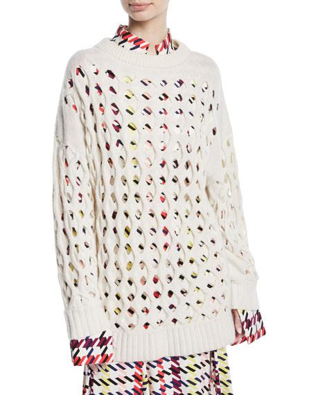 Oscar de la Renta Wool/Cashmere Laser-Cut Fisherman Sweater