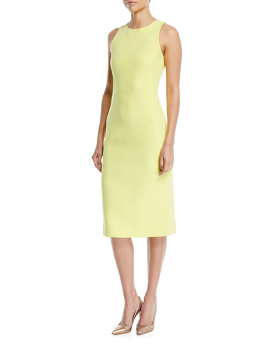 Sleeveless Crepe Sheath Dress