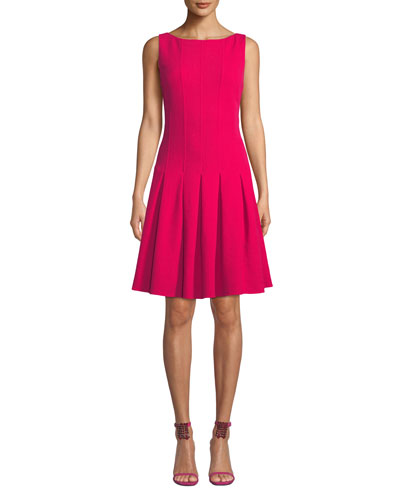 Sleeveless Pleated Knit A-Line Dress