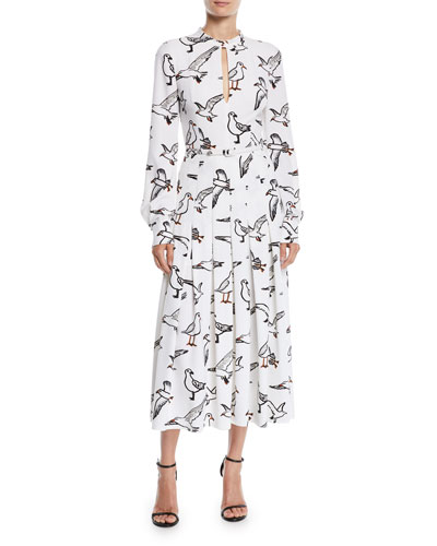 Seagull-Print Long-Sleeve Pleated Long Dress