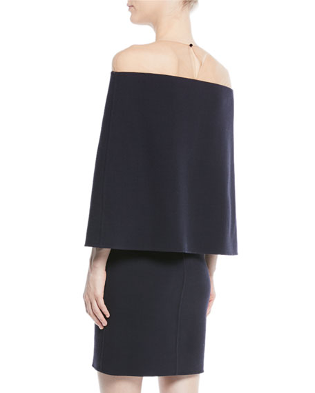 Cape-Back Off-the-Shoulder Illusion Straight Wool Cocktail Dress