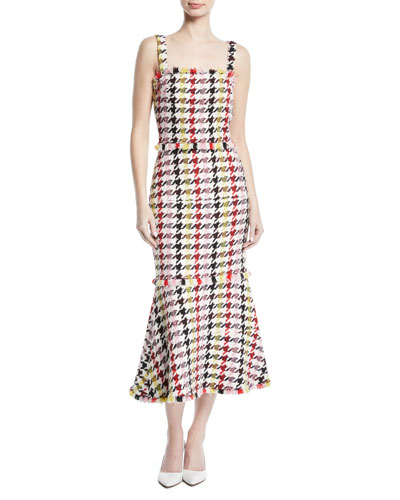 Square-Neck Check-Tweed Trumpet Wool-Blend Dress w/ Fringe Hem