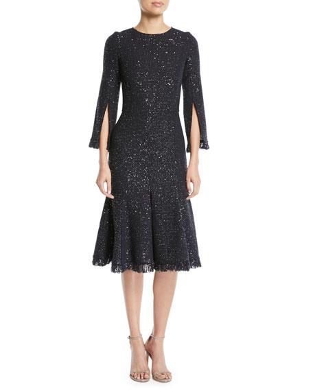 Oscar De La Renta Slit Sleeve Sequin Cocktail Dress