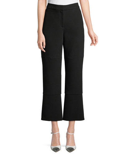 Cropped Crepe Pants w/ Slit Back