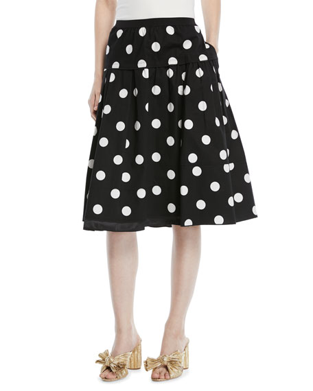 Polka-Dot A-Line Cotton Knee-Length Skirt