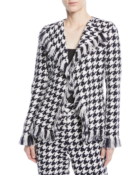 Tweed Houndstooth Wool-Blend Jacket with Fringe