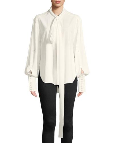 Tie-Neck Long-Sleeve Cotton Tux Blouse