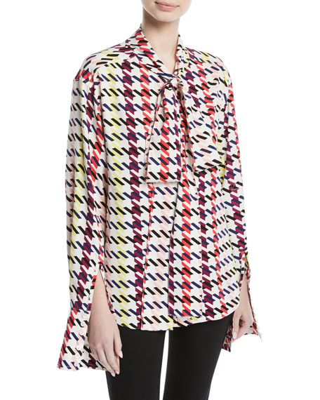 Scarf-Neck Long-Sleeve Houndstooth-Print Silk Top