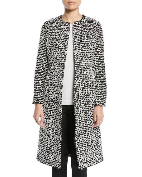 Zip-Front Fringe Wool Coat, Black/White