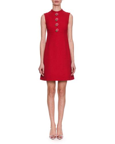 Sleeveless A-Line Wool-Cady Dress w/ Rose Details