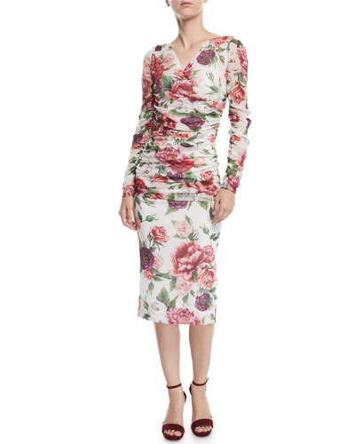 Long-Sleeve Ruched Rose-Print Tulle Midi Day Dress