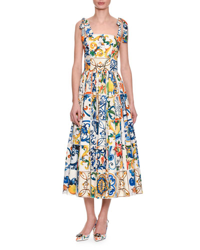 Sleeveless Tile-Print Fit-and-Flare Long Dress w/ Ties