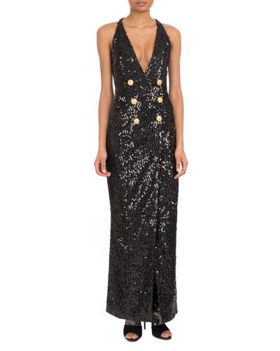 Sleeveless Deep-V Six-Button Paillettes Sequin Evening Gown
