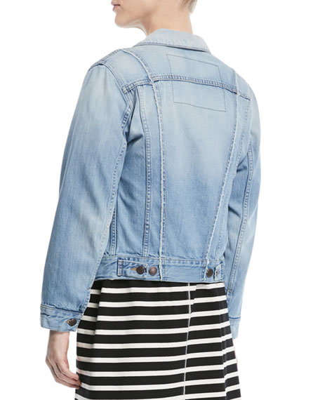 Button-Front Long-Sleeve Denim Jacket