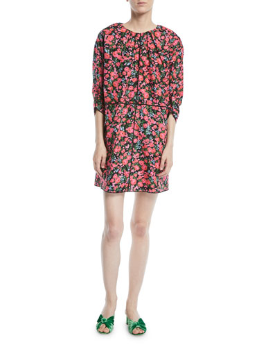 Ruched-Neck 3/4-Sleeve Floral-Print Mini Dress