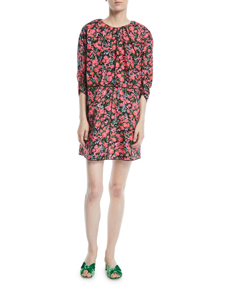 Ruched-Neck 3/4-Sleeve Floral-Print Mini Dress in 002 Blk Mul