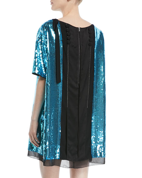Short-Sleeve Bow-Front V-Neck Sequined Cocktail Dress