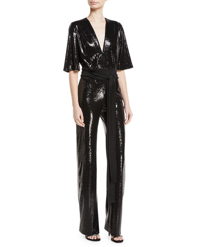 Elbow-Sleeve Deep-V Tie-Waist Stretch-Sequin Jumpsuit