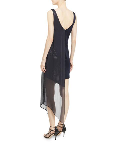 Sleeveless V-Neck High-Shine Jersey Cocktail Dress w/ Sequins & Chiffon Overlay