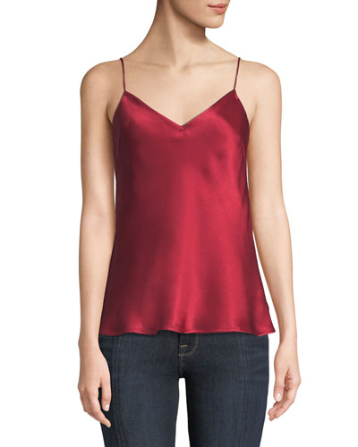V-Neck Thin-Strap Satin Camisole Top