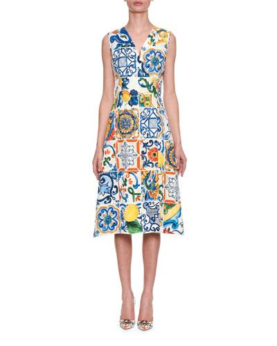 Sleeveless Lemon Tile-Print Brocade A-Line Dress