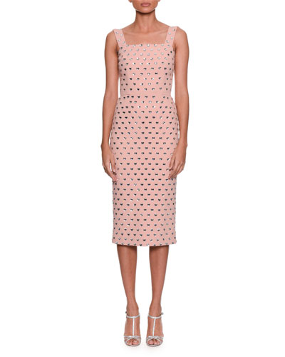 Sleeveless Heart-Embroidered Sheath Cocktail Dress