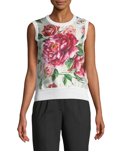 Sleeveless Rose-Print Silk-Knit Shell Top