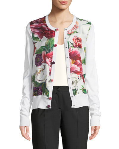 Button-Front Rose-Print Silk Knit Cardigan