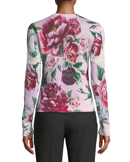 Crewneck Long-Sleeve Peony-Print Pullover Sweater w/ Lace Insets
