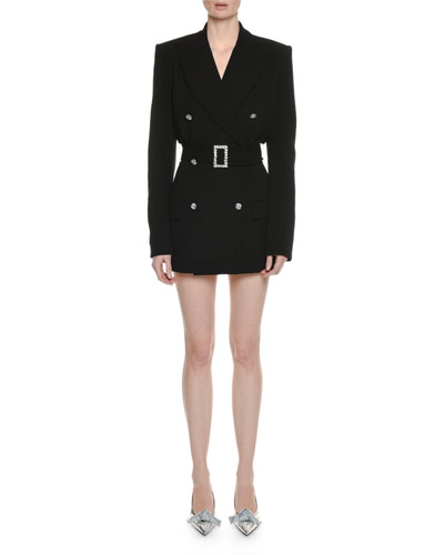 Double-Breasted Tailored Wool Belted Cocktail Dress