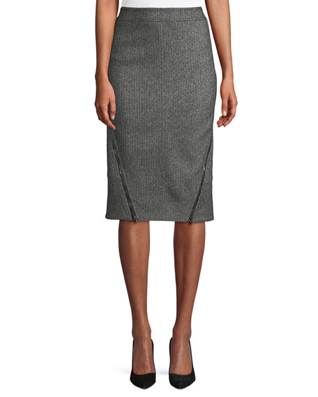 Herringbone Tweed Straight Knee-Length Pencil Skirt