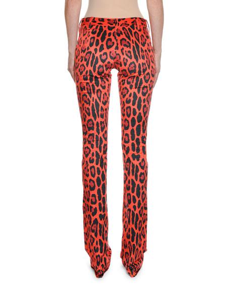 Fitted Flare-Leg Leopard-Print Velvet Pants