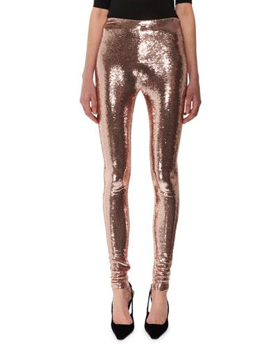 Liquid-Sequin Full-Length Leggings
