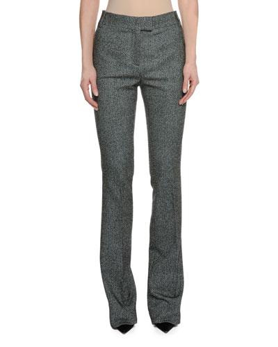 Herringbone Tweed Stretch Straight-Leg Pants