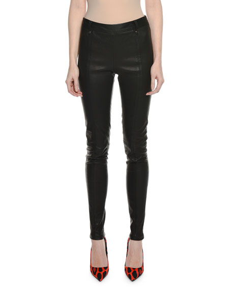 Lamb Leather Full-Length Leggings