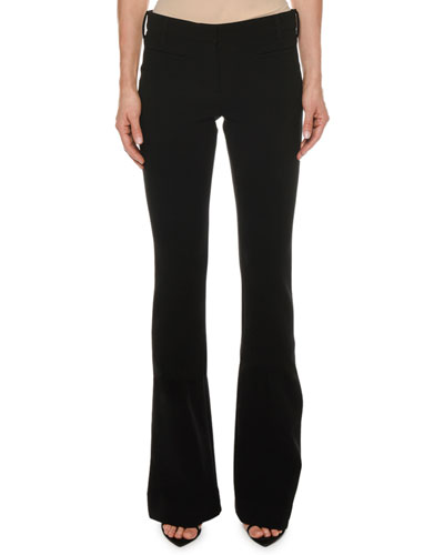 Double-Wool Stretch Flare-Leg Pants