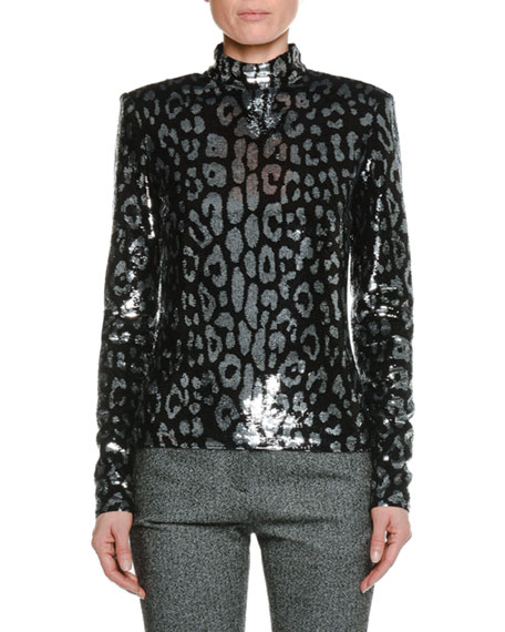 Long-Sleeve Mock-Neck Leopard-Sequin Top