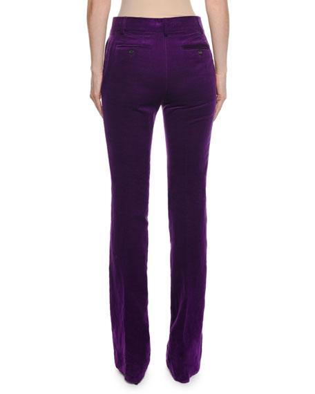 Velvet Flared-Leg Pants