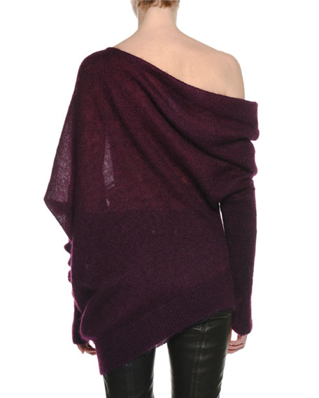One-Shoulder Mohair-Silk Sweater with Thumbholes