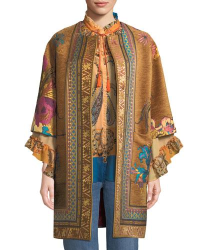 Ribbon & Embroidery Velvet Topper Jacket