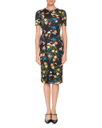 Essie Mariko Meadow Short-Sleeve Floral-Print Fitted Dress