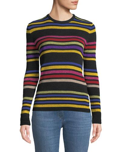 Crewneck Metallic Multicolor Striped Knit Sweater