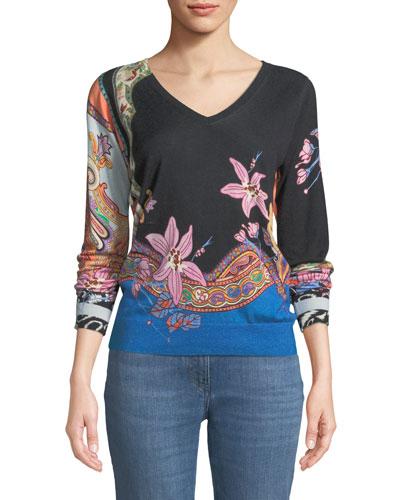 V-Neck Lily-Print Silk-Cashmere Sweater