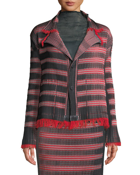Two-Button Striped Plisse Jacket